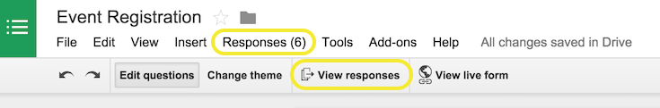 Google form responses in Google Drive