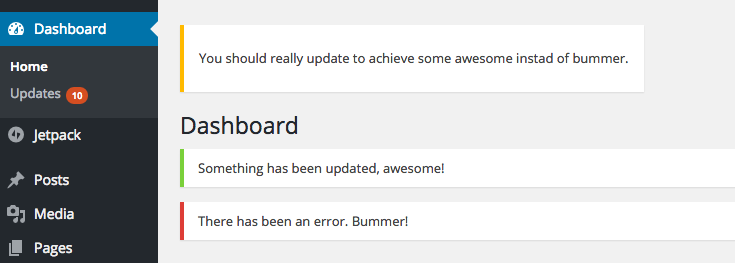 Admin notices at the top of the WordPress backend