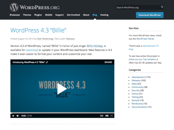 WordPress 4.3 Billie - blog post on WordPress.org