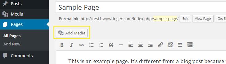 Adding media in a post