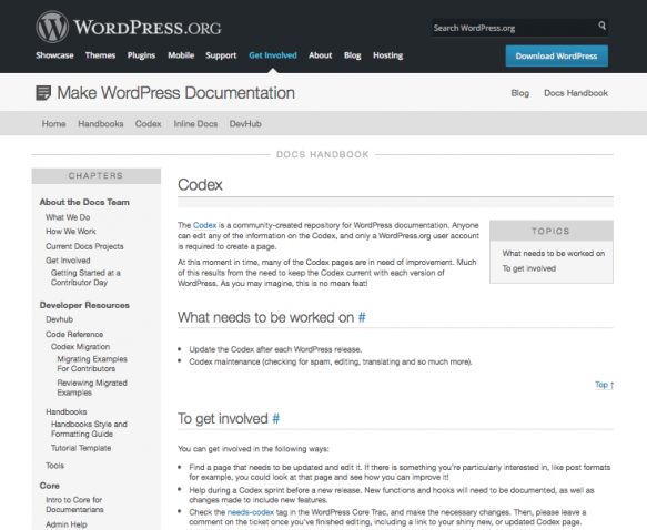 The page on contributing to the Codex at WordPress.org