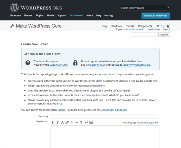Make WordPress Core page - tickets