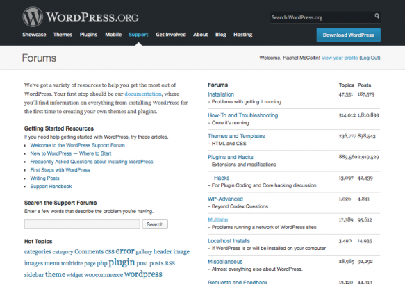 WordPress support forums