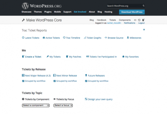 Contributing to WordPress - trac tickets page