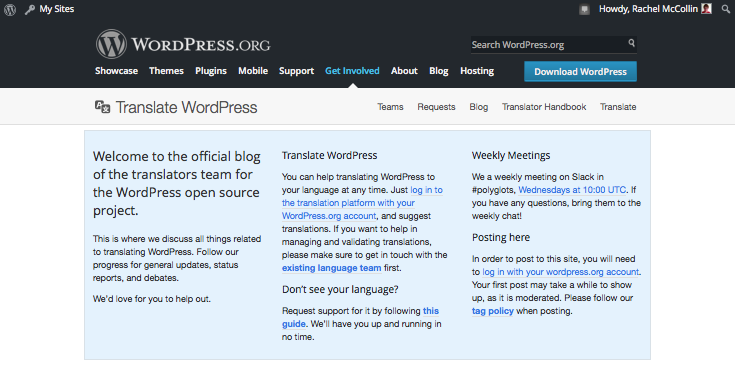 The WordPress translation page