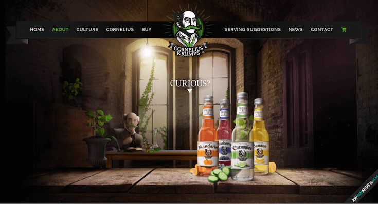 This playful beverage site keeps visitors engaged right to the bottom of the page.