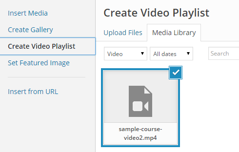 Create video playlist menu item