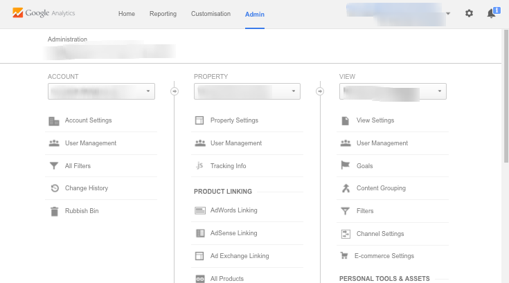 Google Analytics - main admin screen