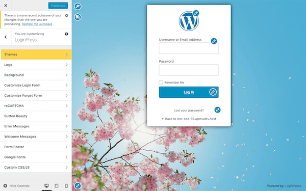 customize your login page using the customizer