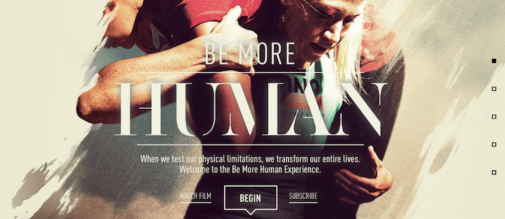 Scroll-triggered layering effects give the Be More Human campaign by Reebok more dimension.