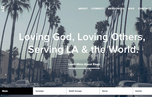 Risen Church uses subtle layering to build a dynamic and interactive user experience.