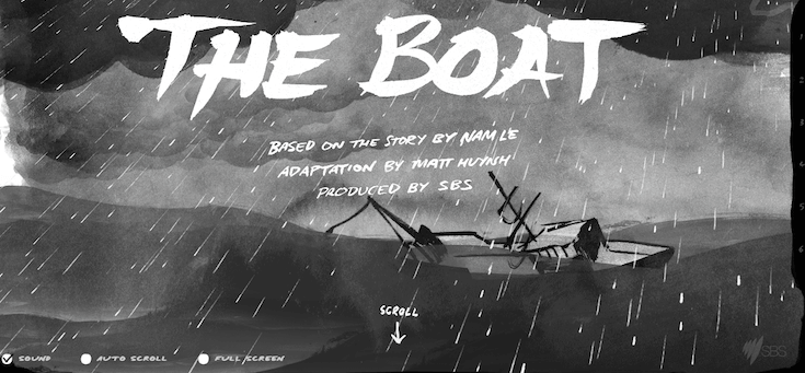 "The story ""The Boat,"" keeps visitors literally asking ""what's next?"" through compelling images and immersive text and textual cues."