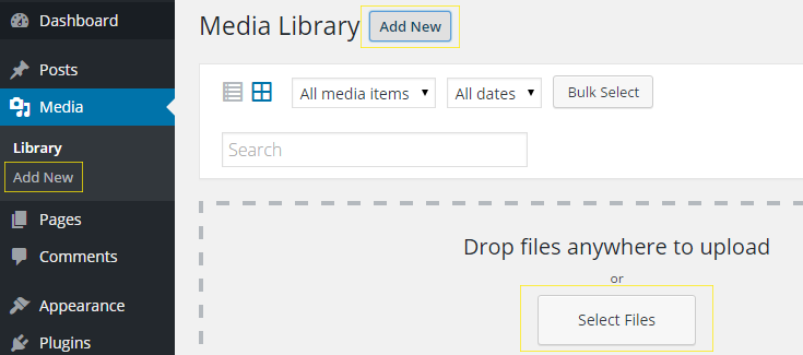 Media library > Add New page