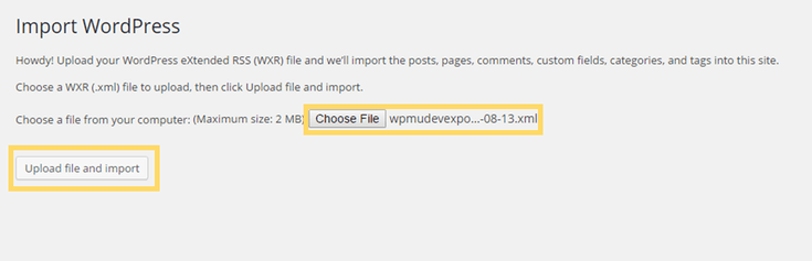 Screen to upload WXR XML file