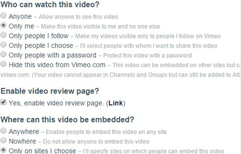 Some of the Vimeo settings