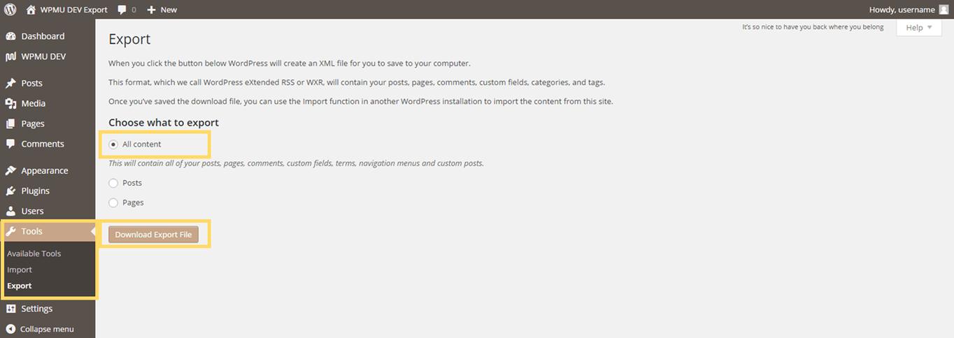 WordPress Export Page.