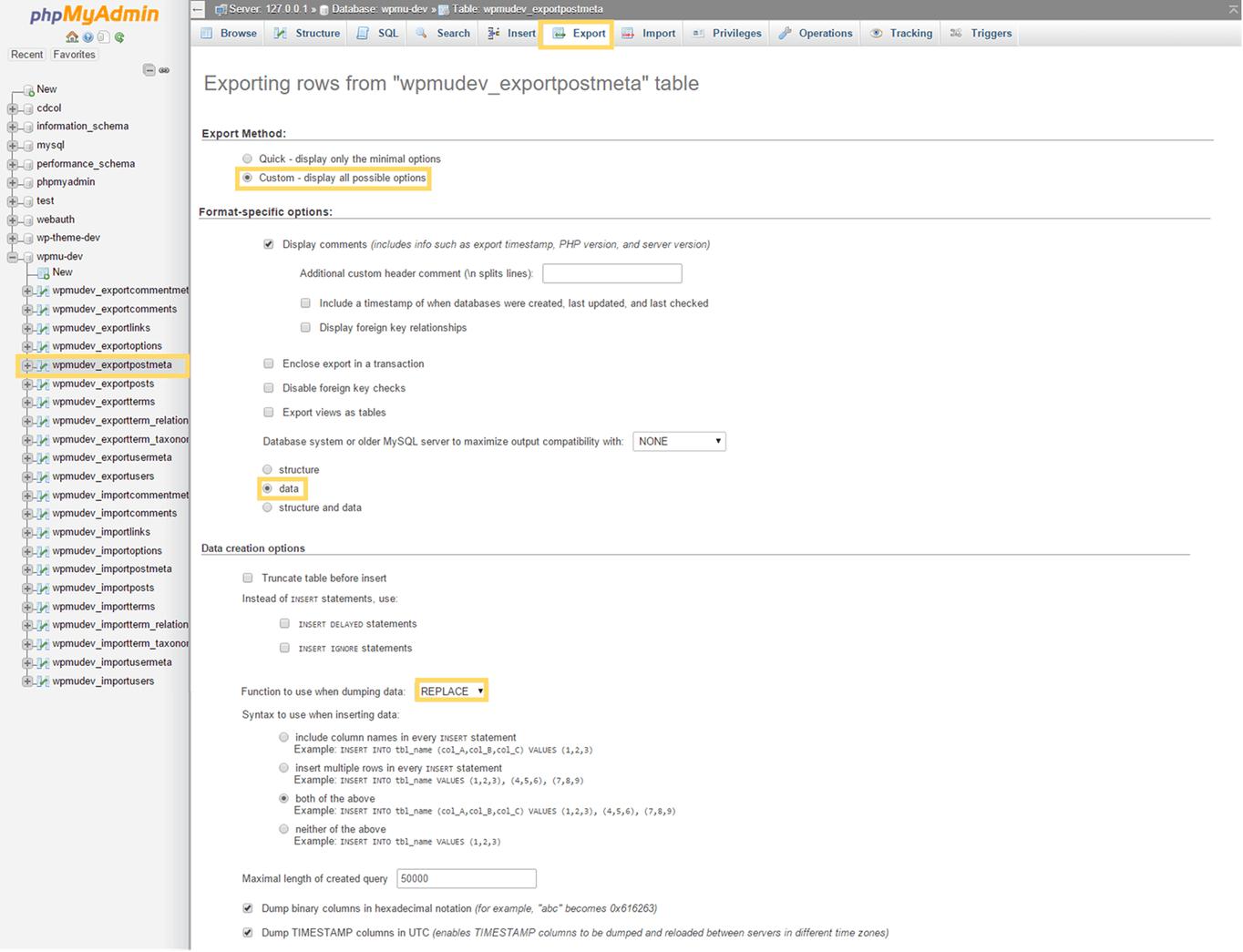 wp_postmeta Custom Export Options