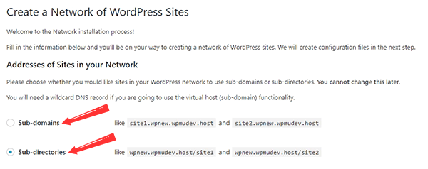 WordPress Multisite network setup screen with choice to select sub-domains or sub-directory