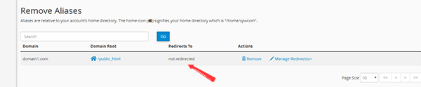 Confirm that there's no redirection set for the Alias or Parked Domain
