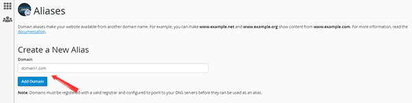 Screen for Creating a new Alias or Parked Domain in cPanel Dashboard