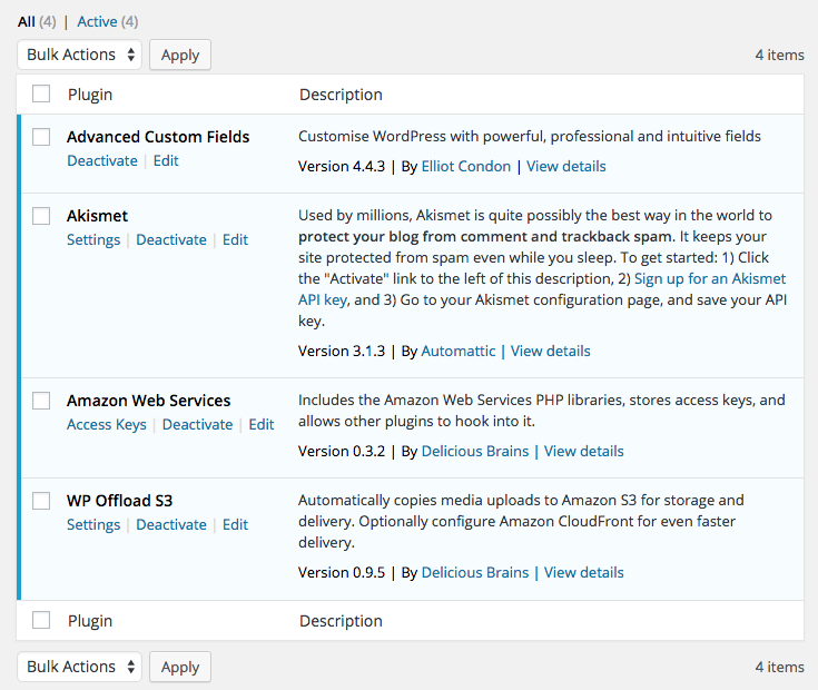 Vanilla WordPress install with some plugins