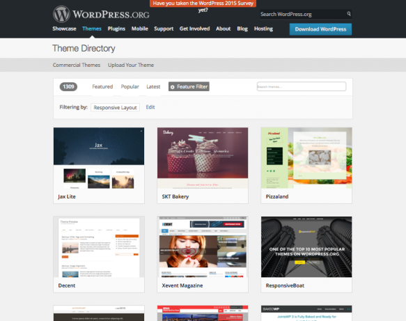 WordPress theme directory on WordPress.org