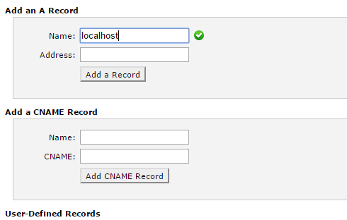 "The ""Add an A Record"" and ""Add a CNAME Record"" sections of the ""Simple DNS Zone Editor"" page in cPanel."