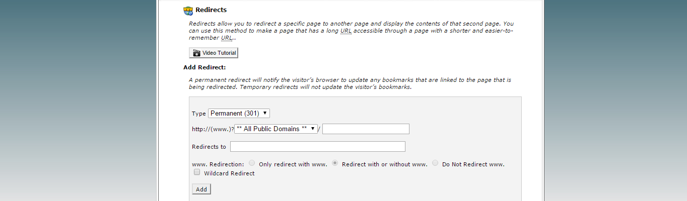 Redirects page in cPanel