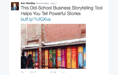 When sharing posts on Twitter, Handley includes images to make them stand out.