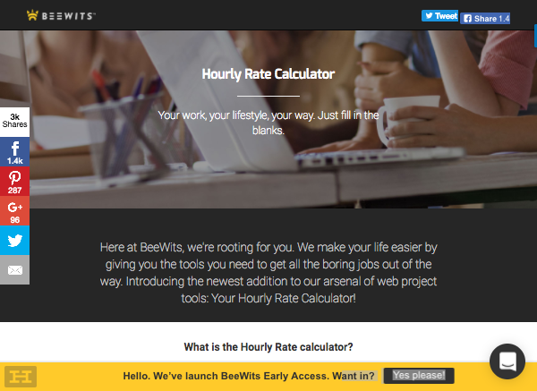 beewits hourly rate calculator