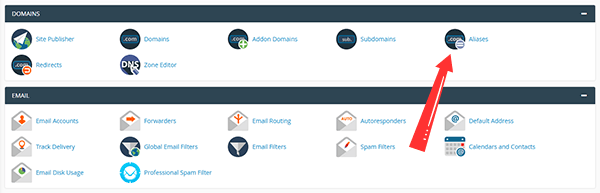 cPanel dashboard showing the Alias option under Domains section