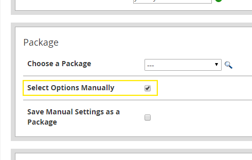 "The ""Package"" section of the ""Create a New Account"" page. The ""Select Options Manually"" checkbox has been selected."