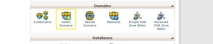 The domains section in cPanel
