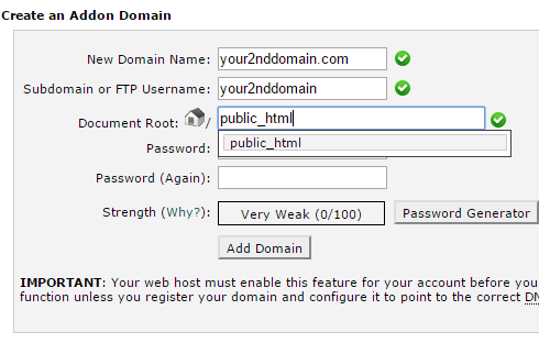 "The ""Addon Domain"" page in cPanel"