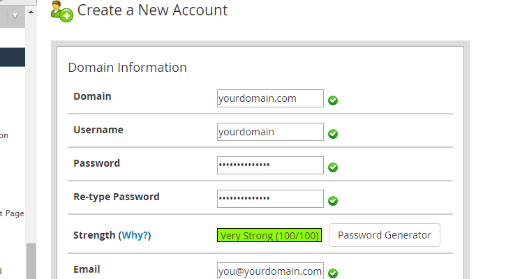 Basic details entered into WHM to create a new cPanel account such as domain, username, password and email.