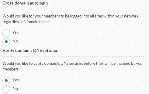 "The ""Cross-domain auto login"" and ""Verify domain's DNS settings"" sections"