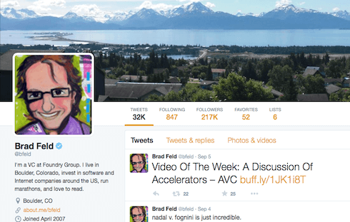 Brad Feld auto-shares his latest posts to Twitter but engages with his followers regularly.