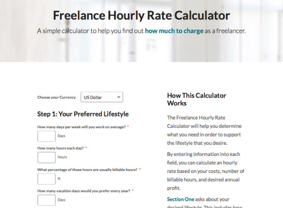 Freelance hourly rates calculator