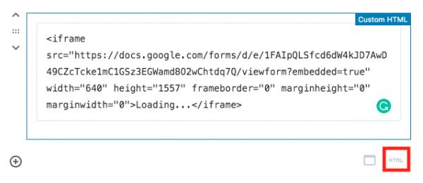 locate the HTML block in WordPress