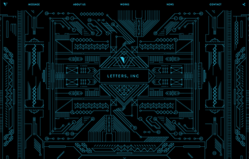 The intricately designed Letters, Inc website.