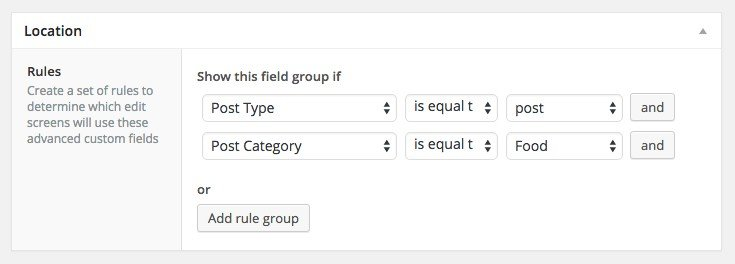 ACF field group location settings