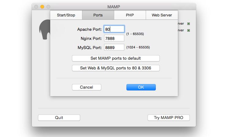 MAMP ports preferences tab
