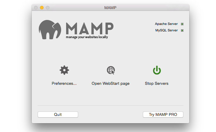 MAMP opening window with servers working