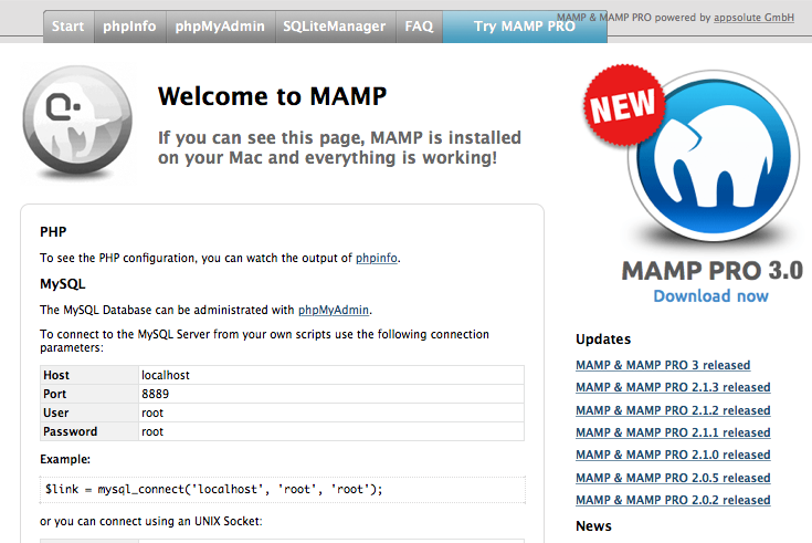 The MAMP local start page