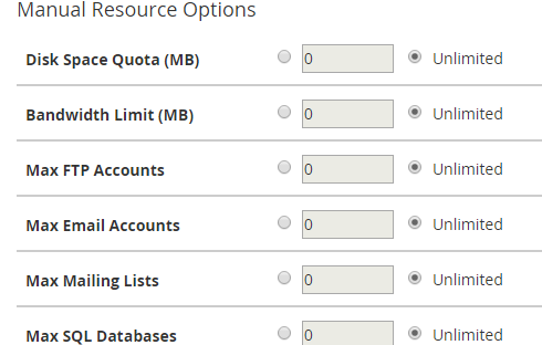 "The ""Manual Resource Options"" section"