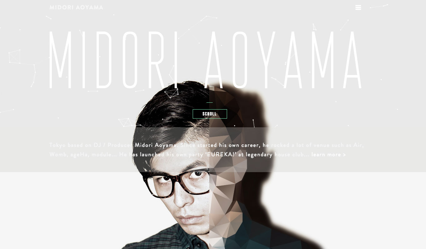 DJ Midori Aoyama pops with bright shades of blues and greens are you scroll.
