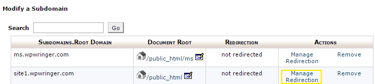 "The ""Manage Redirection"" link is highlighted on the sub-domain list in cPanel."