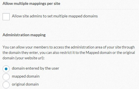Multiple mapping and admin mapping settings