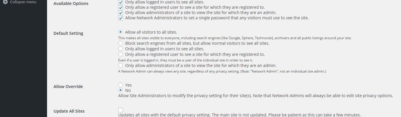 The default network settings for the Multisite Privacy plugin.