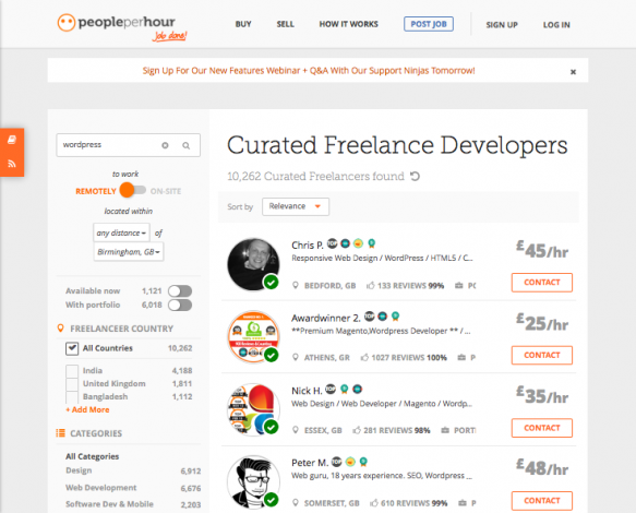 people per hour - freelancer listings